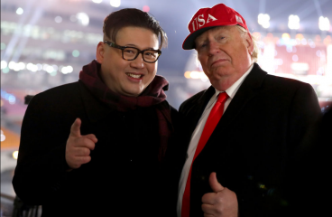 President Trump and Kim Jong-un Impersonators Thrown Out Of Winter Olympics Ceremony