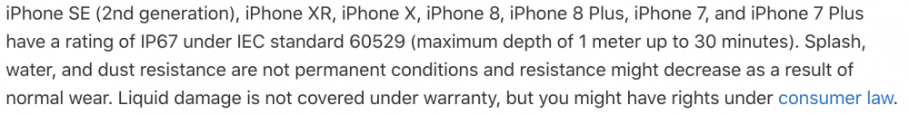 Apple's official support page highlighting waterproof qualities in products.